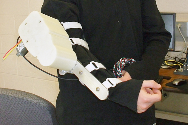 A close-up of the robotic arm.