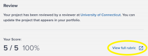 Portfolium: Event journal has been scored, emphasizing link to view full rubric