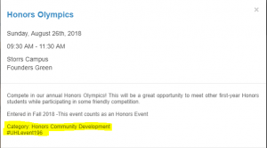 "Event calendar entry for Honors Olympics. At the bottom, the text ""Category: Honors Community Development"" and ""#UHLevent196"" is highlighted."