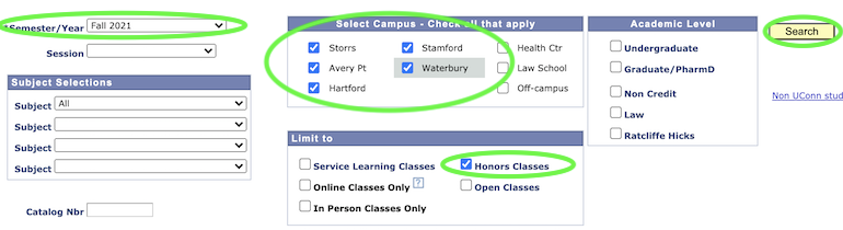 Dynamic Course search settings for Honors courses.